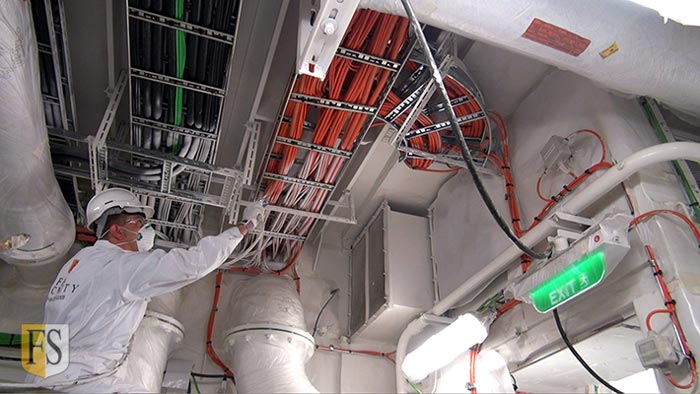 Cable fire-coating in Engine Room on Carnival Cruise ship by Fire-Security