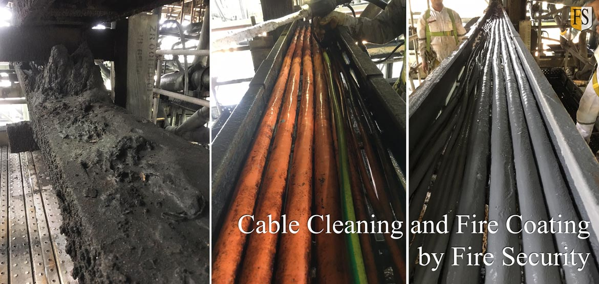 Cable cleaning and fire coating by Fire Security