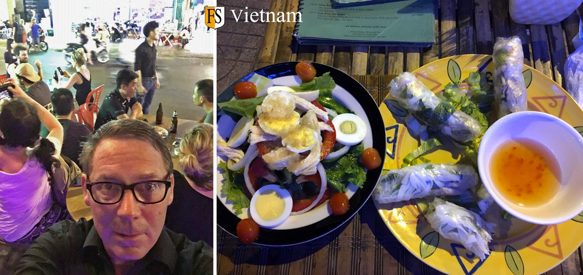 Fire Security in Vietnam - Paal Mathisen testing street food in Ho Chi Minh City