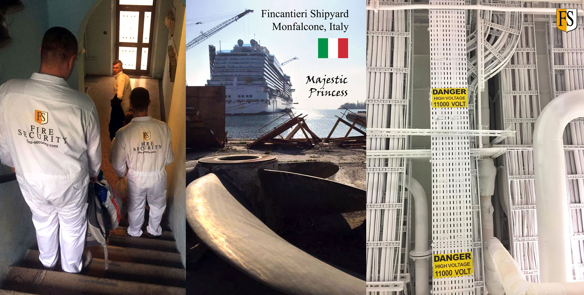 Our experienced coating crew are doing cable fire protection onboard Majestic Princess at Fincatieri Shipyard in Italy