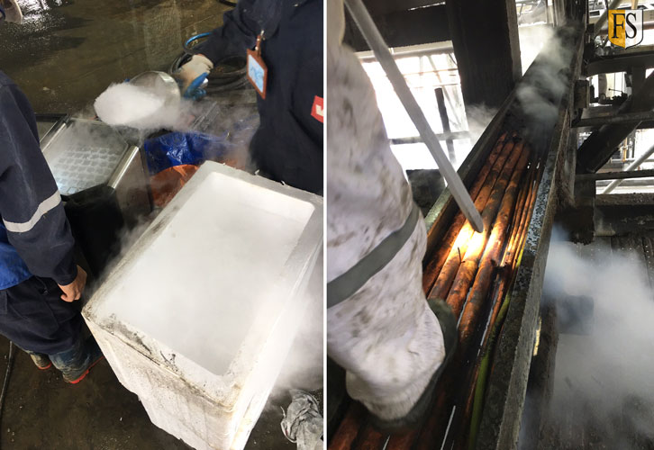 Using dry ice for cable cleaning before fire coating is applied.