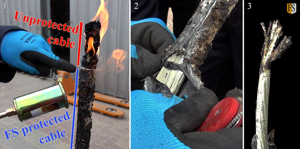 Notice how different the two sections of the cable react to the flame.  2: Cutting the cable open reveals the unharmed inner cables. 3: The uncoated upper part of the cable was seriously damaged by the fire.