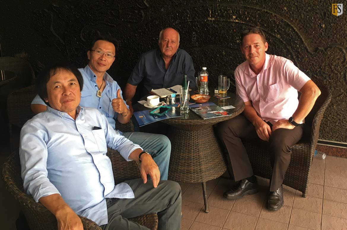 Steve Baldry and Paal Mathiisen from Fire Security meet with Alex Long and Daniel Neo from Alexander S Pte Ltd in Singapore.