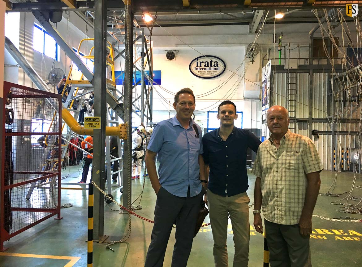 Paal Mathisen and Steve Baldry meet with Paul Sanderson from Applus K2 at their workshop and rope access training center in Singapore.