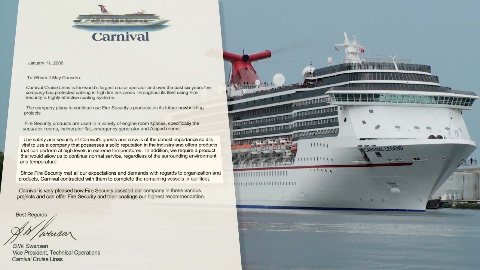 Letter of recommendation from Carnival Cruise Lines