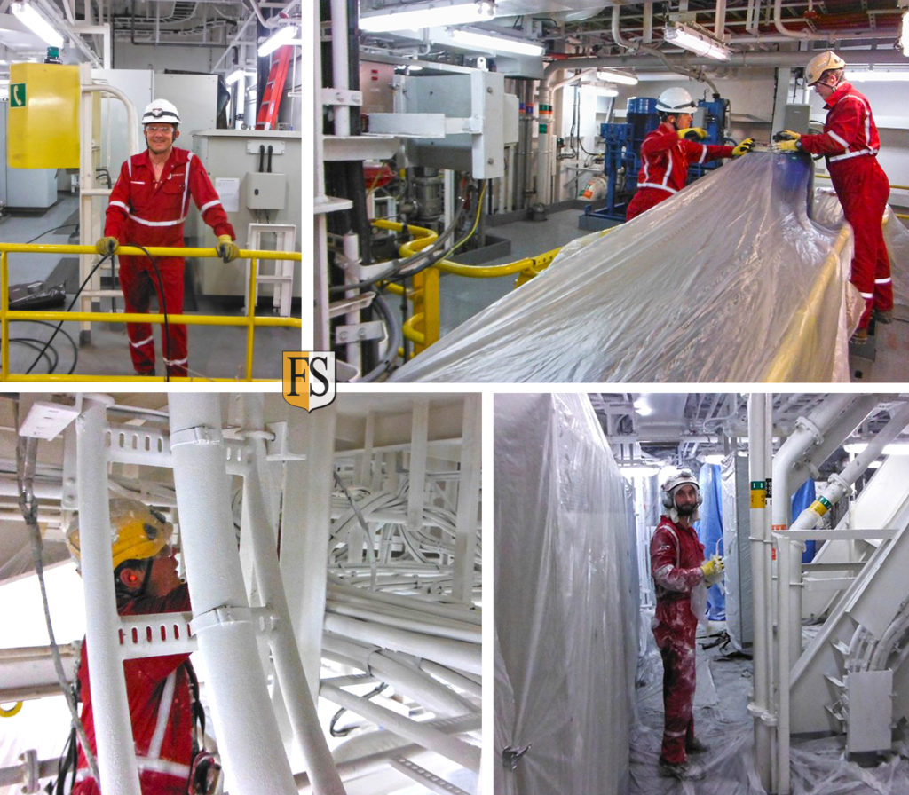 Cable coating with FS1 approved by DNV on the drill ship Transocean India in the Gulf of Mexico