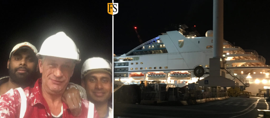 Hans Olsen and crew at shipyard in Genova doing fire protection on board Seabourn Ovation