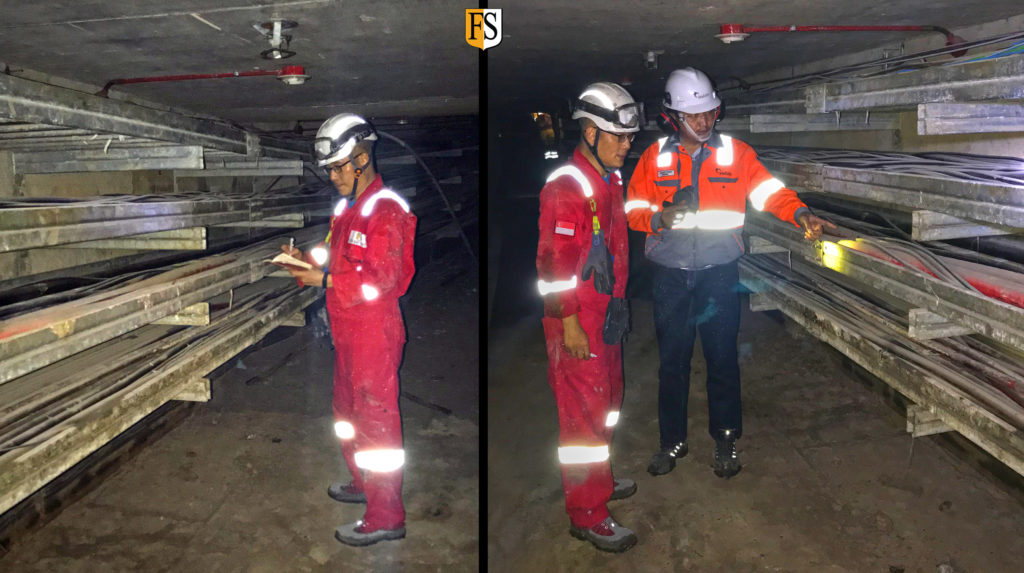 Inspection at underground cable tunnel in Central Java Indonesia by Steven Chong Fire Security Asia