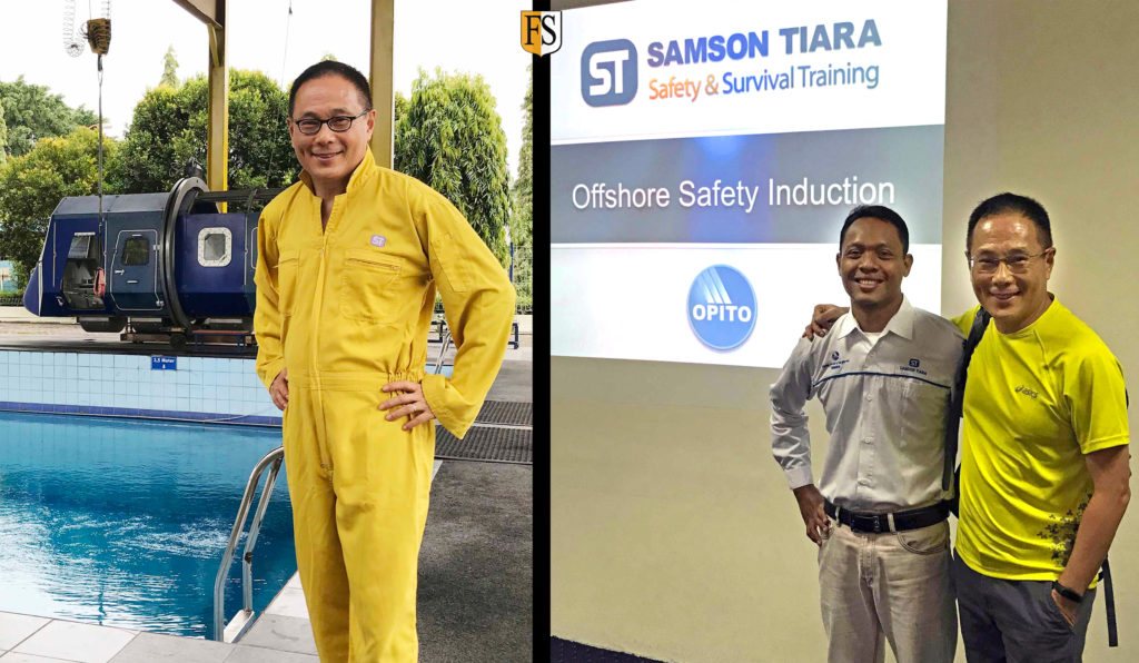 Steven Chong attending Basic Offshore Satefy Induction & Emergency Training at Cilegon, Indonesia.