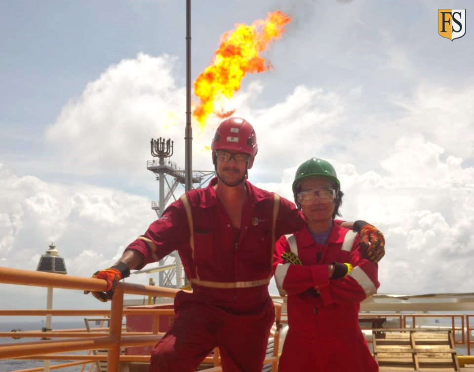 Fire Security working on cable life extension on oil rig for Brunei Shell Petroleum