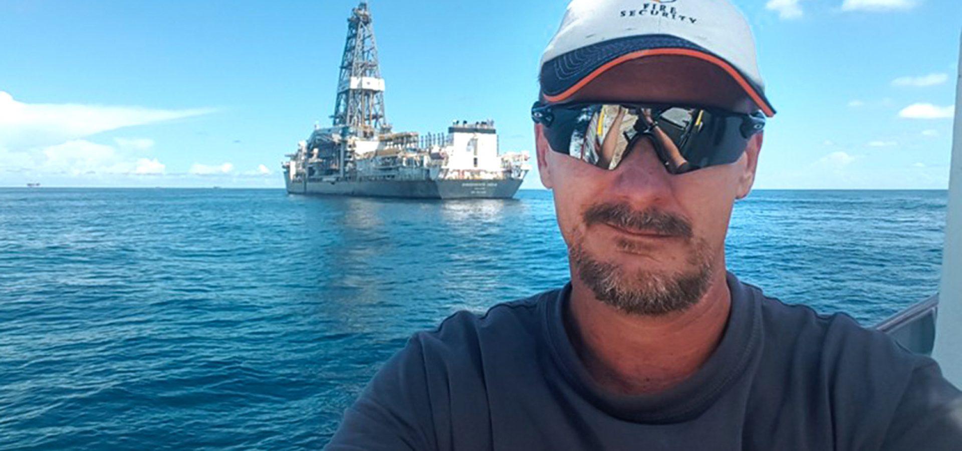 Paul Filby having just surveyed Transocean Drill Ship Transocean India, offshore Louisiana USA